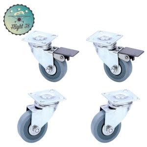 roulettes 50mm 2 avec frein et 2 sans frein