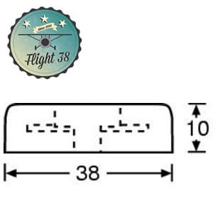 F4906-B Pied caoutchouc 38 x 10 mm