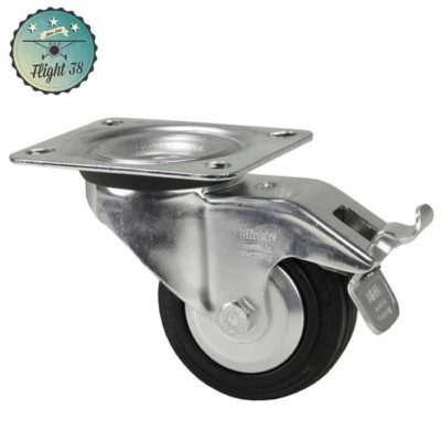 roulette noir diam 80mm avec frein pour flycase sur mesure