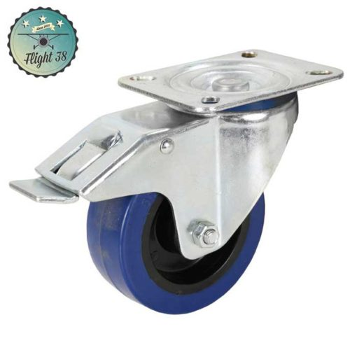 roulette bleu diam 100m avec frein pour caisse de transport sur mesure
