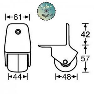 FR3780-B Roulette d'Angle nylon 50 mm