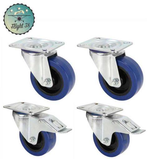 LOTBLEU80 lot de 4 roulettes diam 80 bleu pour fly case en kit pas cher ou occasion