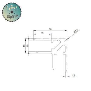 FALU6119.B cornière double alu fly case